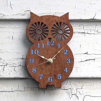 Owl Silhouette - Modern Wooden Wall Clock Maple Vaneer Wood Clock Face With Dark Brown, Blue Numbers - Nursery, Kitchen, Living Room Decor