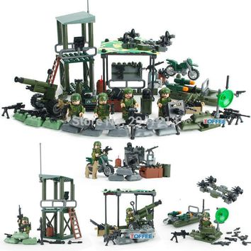 HOT compatible LegoINGlys Military figures with weapon Building Blocks World War II Army Jungle Commando toys for Children gift