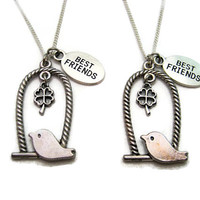 Tiny Bird Necklace Set Best Friends Pet Clover Necklace Set Bffs Necklace Set Clover Jewelry Set Bird Lovers Gift Bird On A Swing