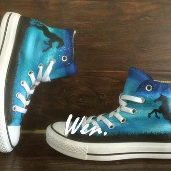 Horse Converse Horse Shoes Hand Painted Shoes Painted Custom Converse Canvas Shoes Bir
