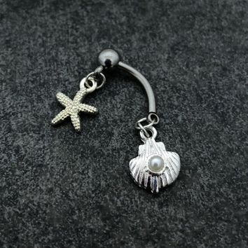 14 gauge surgical stainless steel Seashell, Pearl & starfish belly button navel ring