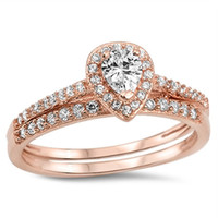 Cery's Sterling Silver Rose Gold Plated Pear Cut Wedding Ring Set