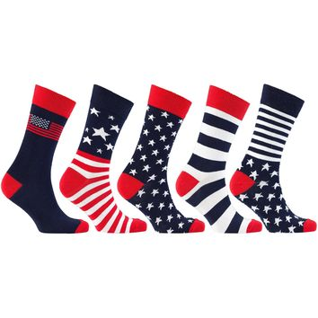 Men's 5-Pair Patriot Usa American Flag Socks-3023