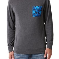 On The Byas Alex Printed Pocket Crew Fleece - Mens Shirt - Gray