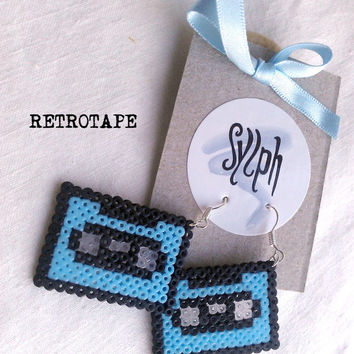 Earrings made of Hama Mini Beads - Retrotape (baby blue)