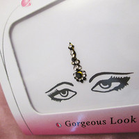 Long Black Fancy Wedding Bindi - Celebrity Design Forehead Jewelry 1.7 Cm Long