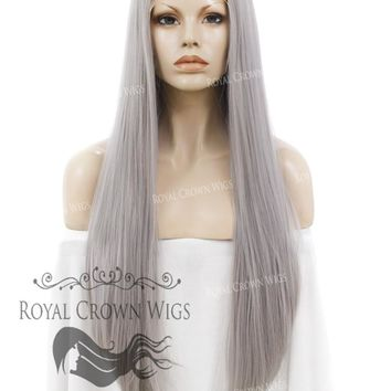 """30"""" Straight Lace Front Synthetic Wig """"Hera"""" in Space Gray"""