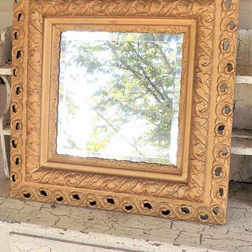 Antique Gilt and Gesso Beveled Mirror, Wood Framed Mirror, Square Mirror