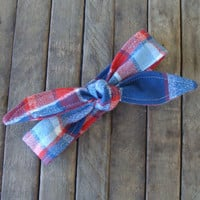 Flannel Winter Skinny Headband Red and Blue Flannel Teen Women Hair Accessory