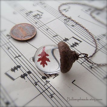 Glass Acorn Autumn Necklace - Clear with Encased Copper Oak Leaf by Bullseyebeads