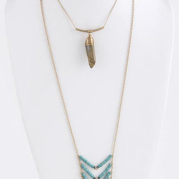 Textured Chevron With Bead Aligned Ornate Layer Necklace
