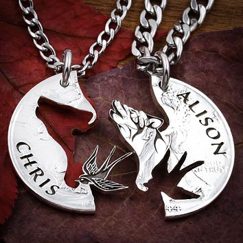 Howling Wolf and Scissor-Tail Bird Necklaces, hand cut coin
