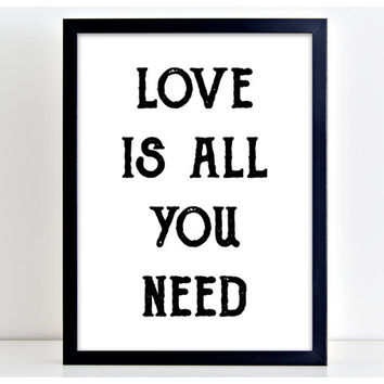 Love is all you Need Cute Family Word Art Print Kitchen Quote Motivation Wall Sign Letters Home Decor PP4