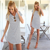 Women Casual Stripe T-shirt Dress