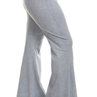 Chatoyant Plus Size Mineral Wash Flare Pants in Fog