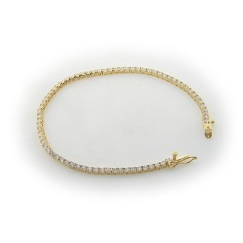 2mm Square-cut Cubic Zirconia Tennis Bracelet in Gold Plated Sterling Silver