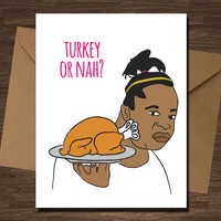 Confused Girl Meme Funny Thanksgiving Card turkey or nah?