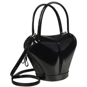 Fontanelli Designer Handbags Dramatic Black Italian Leather Handbag