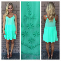 Pocket Full of Daisies Dress- Neon Mint
