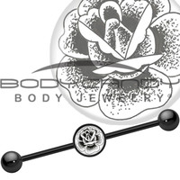 Black Titanium Arty Stippled Rose Industrial Barbell | Body Candy Body Jewelry