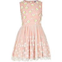 River Island Girls pink lace flower prom dress