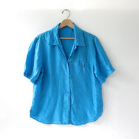 90s silk shirt. aqua blue blouse. minimalist short sleeve top. pocket shirt.