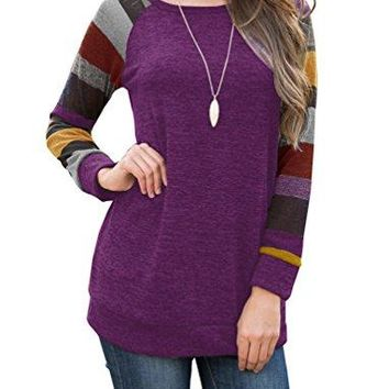 PrinStory Women's Cotton Knitted Long Sleeve Lightweight Tunic Sweatshirt Tops
