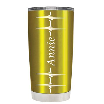 Personalized Heart Beat Pulse on Translucent Gold 20 oz Tumbler Cup