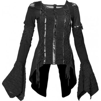 Women's tail top w. drawstrings by Queen of Darkness