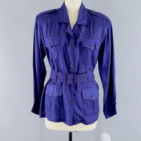 Vintage ADINI Belted Shirt Jacket / Royal Blue Purple
