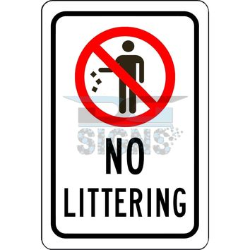 No Littering Sign - aluminum sign 8x12