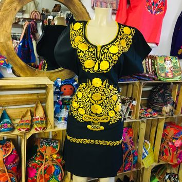 Mexican Embroidered Mini Dress Black and yellow