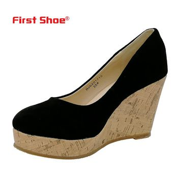 2018 New Cow Suede Kate Princess Pumps Superstar Sapphire Women Wedge Heels Shoes Sexy Elegant Pumps Trend-setting Office Shoes