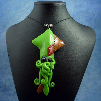Frankenpod Squid Necklace, Polymer Clay Halloween Jewelry