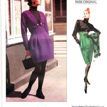 RARE Christian Lacroix Jacket & High Waisted Skirt 1980s Vogue Paris Original 2183 Size 12 - 14 -16 Bust 34 36 38 UNCUT FF