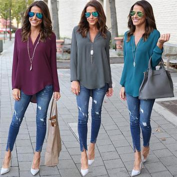 Women's Plus Size Casual V Neck Loose Fit Button Back Long Sleeve Chiffon Shirt