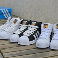 """Adidas"" All-match Fashion High Help Shoes Couple Casual Three Bars Shell Head Plate Shoes Sneakers"