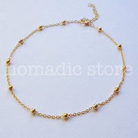 gold circlet chain choker  - by nomadic store