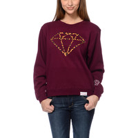 Diamond Supply Leopard Rock Maroon Crew Neck Sweatshirt at Zumiez : PDP