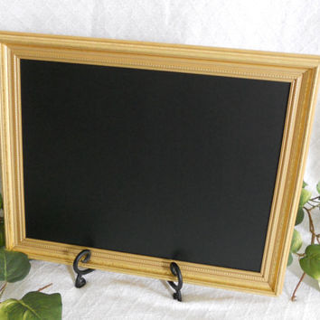 Gold Framed Chalkboard, Framed chalk board, kitchen menu board, black board, wedding chalkboard , picture frame, up cycled,