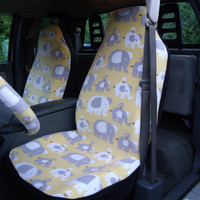 1 Set of Elephants Allover Print  Car Seat Coves and Steering Wheel Cover, custom made.