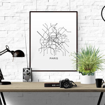 Paris Subway Map Print Paris Metro Map Poster PARIS MAP Paris Subway Map Black & White Lines Vintage Map Retro Printable Metro Map SUBWAY