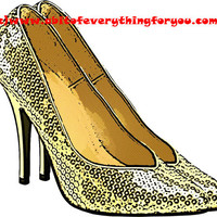 gold sparkle high heel shoes printable art clipart png digital download image fashion graphics