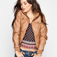 Full Tilt Rib Inset Sleeve Womens Faux Leather Jacket Camel  In Sizes