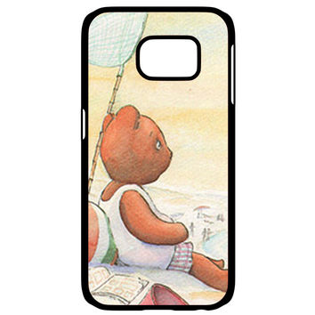 Little Teddy Bear in Beach Art Samsung Galaxy S6 Edge Case