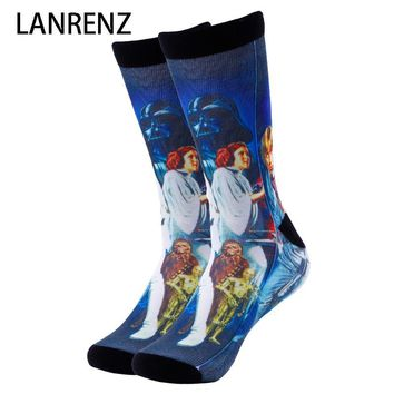 Star Wars Force Episode 1 2 3 4 5 2018  cover printing Men and women fashion Funny socks 3d printed socks 200 knitting oil painting compression socks AT_72_6
