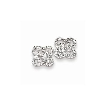 Sterling Silver Diamond Butterfly Post Earrings