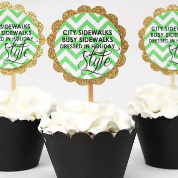 Christmas Cupcake Toppers Gold Glitter Holiday Cupcake Dessert Toppers Green Chevron Cupcake Toppers Girl Christmas Party Stylish Christmas