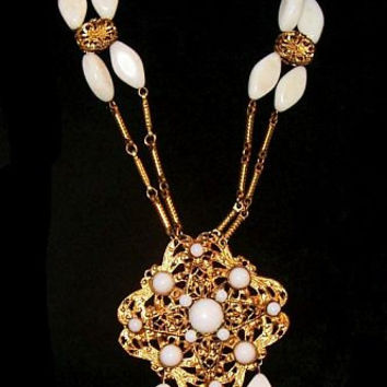 Gold White Statement Necklace Medallion Glass Beads Bar Links Art Deco 26 in Vintage