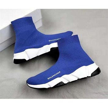 Blue Balenciaga Woman Men Fashion Sport Sneakers Shoes